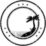 Rubber vector stamp with tropical palm tree Royalty Free Stock Photos