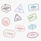 Rubber visa stamps Royalty Free Stock Photography