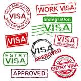 Rubber visumstämplar för Grunge stock illustrationer
