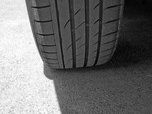 Rubber wheels on asphalt royalty free stock photos