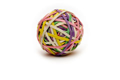 Rubberband ball. On white slight shadow  used to help children with adhd study Stock Photo