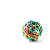 Rubberband Ball. Studio image of rubberband ball on a white background. Copy space royalty free stock photos