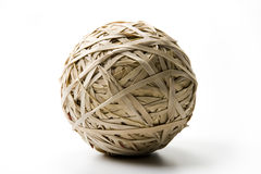 Rubberband Ball. Ball made of rubber bands on white Royalty Free Stock Photo