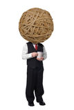 Rubberband Ball Coffee cup man. Handsome attractive young man with a Rubberband Ball head dressed in suit with coffee in hand on white background Stock Photography