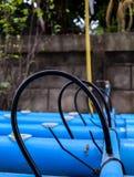 Rubberbuis op pvc-pijp bij het landbouwbedrijf van de hydrocultuurlandbouw Stock Fotografie