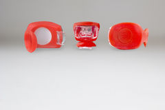 Rubberized red flashlight with two diodes Stock Photography