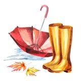 Rubberlaarzen en Paraplu Stock Fotografie