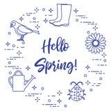 Rubberlaarzen, vogel, bloem, gieter, lieveheersbeestje Royalty-vrije Stock Afbeelding