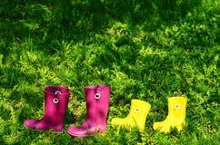 Rubberlaarzen voor vrouw en jong geitje in groen de zomergras Stock Fotografie