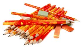 Rubbers and lead pencils Royalty Free Stock Image