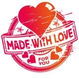 Rubberzegel die met liefde wordt gemaakt stock illustratie