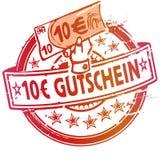 Rubberzegel met bon meer dan 10 euro Stock Foto