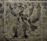 rubbing of an ancient bird from a tablet Royalty Free Stock Image