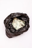 Rubbish bag with dollars Royalty Free Stock Photo
