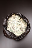 Rubbish bag with dollars Royalty Free Stock Image