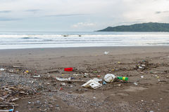 Rubbish on a beach after a storm Royalty Free Stock Images