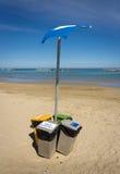 Rubbish bin eccologycally sorted on the Italian beach Royalty Free Stock Photos