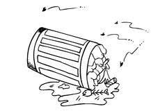Rubbish bin filled with waste. Hand draw sketch, Rubbish bin filled with waste Stock Photography