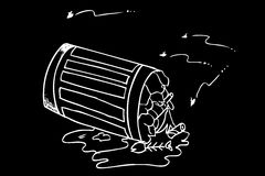 Rubbish bin filled with waste. Hand draw sketch, Rubbish bin filled with waste Royalty Free Stock Image