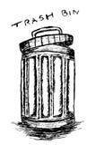Rubbish bin filled with waste. Hand draw sketch, Rubbish bin filled with waste Royalty Free Stock Photo