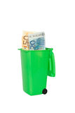 Rubbish bin money banknotes euro Stock Photo