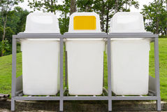 Rubbish Bin in the Park - Public Area Stock Images
