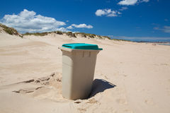 The rubbish bin on the sand beach in Santander, Spain. Royalty Free Stock Photos
