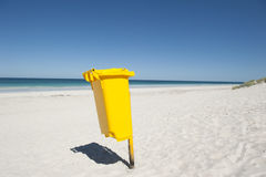 Rubbish Bin on Tropical Beach Stock Images