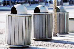 Rubbish Bins. Three rubbish bins nearly at attention Royalty Free Stock Images
