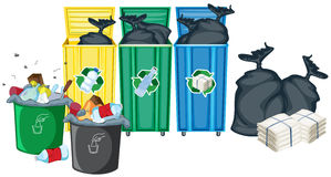 Rubbish bins. Illustration of rubbin bins and garbages Royalty Free Stock Photos