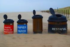 Rubbish bins. Open rubbish bins on stormy beach, Kijkduin Stock Photo