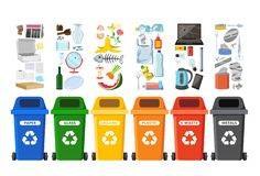 Rubbish bins for recycling different types of waste. Garbage containers vector infographics. Rubbish bins for recycling different types of waste. Garbage stock illustration