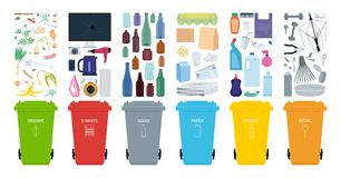 Rubbish bins for recycling different types of waste. Sort plastic, organic, e-waste, metal, glass, paper. Vector illustration. vector illustration