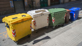Rubbish bins. Trash cans for garbage separation Royalty Free Stock Photography