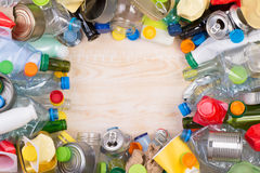 Rubbish that can be recycled with copy space Royalty Free Stock Photo