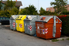 Rubbish containers in the street. Used for recycling Royalty Free Stock Photo