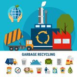 Rubbish Disposal Icon Set. Garbage flat emoji icons collection with pictograms and composition of waste recycling plant and rubbish truck images vector stock illustration