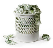 Rubbish with dollars Royalty Free Stock Photo