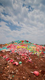 Rubbish dump. Dumped domestic rubbish and discarded plastic bags Royalty Free Stock Photos