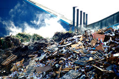 Rubbish Dump. Steam rising from a rubbish tip Royalty Free Stock Photos