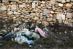 Rubbish dumped by the side of the road. In the Maltese countryside Stock Photo