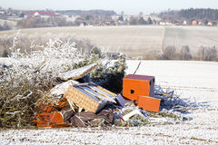 Rubbish on a field. Ecology, mess, winter Stock Photo