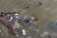 Rubbish are floating on river Royalty Free Stock Photo