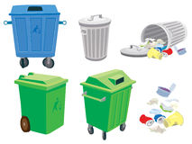 Rubbish and garbage cans and a basket. Garbage cans, trash can and trash Stock Illustration