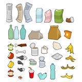Rubbish icon collection. Garbage set. trash sign. litter symbol. Peel from banana and stub. Tin and old newspaper. Bone and packaging. Crumpled paper and royalty free illustration