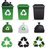 Rubbish icons. Illustration of a set of rubbish bins and recycle symbols vector illustration