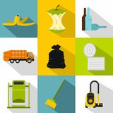 Rubbish icons set, flat style. Rubbish icons set. Flat illustration of 9 rubbish vector icons for web Stock Images