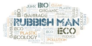 Rubbish Man word cloud. Wordcloud made with text only stock illustration