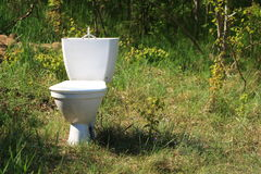 Rubbish on the nature polluting environment. Ecology. Old toilet bowl lying discarded on the nature in forest. Rubbish garbage polluting environment Royalty Free Stock Images