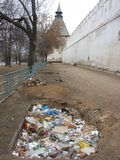 Rubbish near stronghold. Astrakhan, Russia Royalty Free Stock Photos